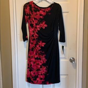Black dress with red floral pattern